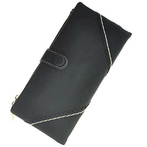 Fashion Faux Leather Women Wallet Long Handbag Purse Coin Card Holder Bag Clutch (Colour - Black)