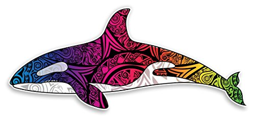 Orca Killer Whale Decal Vinyl Sticker Decorative Tribal Tie Dye Rainbow Colored for Car Truck Window Laptop Computers Bumper Sticker