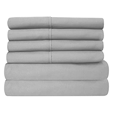 Sweet Home Collection 6Piece 1500 Threadcount  Deep Pocket Bed Sheet Set - 2 Extra Pillow Cases, Great Value -King, Silver