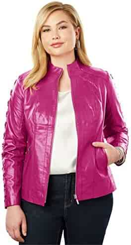 e78dc6c6af5 Jessica London Women s Plus Size Lace Up Leather Jacket