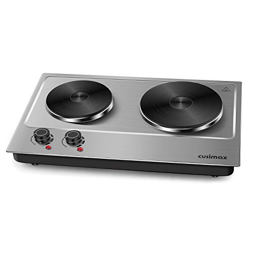 Cusimax Hot Plate, 1800W Cast Iron Countertop Double Burner Portable Electric Stove 7 Inch Stainless Steel Cooktop for Dorm Office Home Camp, Compatible with All Cookware - 2019 Version