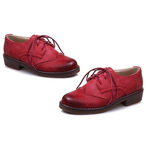 RAZAMAZA Derbies Femmes de Brogues Chaussures Ville Lacets Red à 0w0rqA1
