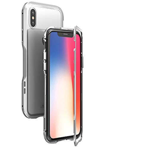 Roisay Two Color Design Phone Case,Precise Access Phone Functions Fixed-Point Adsorption Magnetic Adsorption Metal Bumper Glass Case Cover Compatible with iPhone Xs 5.8 (Silver) (Best Iphone Dictionary App 2019)