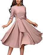 Women's Elegance Audrey Hepburn Style Ruched Dresses Round Neck 3/4 Short Sleeve Pleated Swing Midi A-line Dress with Pockets