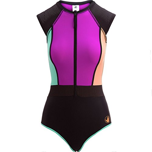 Body Glove Women's Stand up Cap Sleeve Raglan One Piece Paddle Swimsuit with UPF 50+, Bounce Magnolia, (Body Womens Cap)