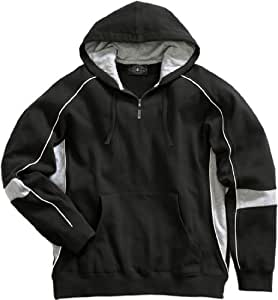 Charles River Apparel Victory Hooded Sweatshirt, Black/Grey/White, Small
