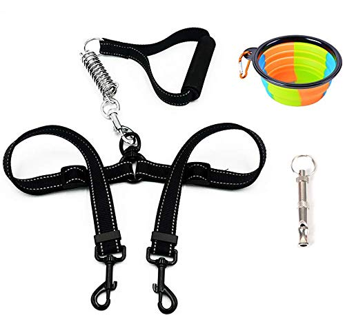 Urijk Double Dog Leash Collapsible Dog Bowl Whistle