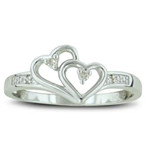 Double Heart Diamond Promise Ring, Availabe Ring Sizes 4-10, Ring Size 10