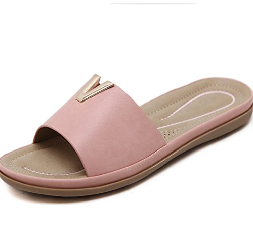 Sandalias de Botones Pantalones Zapatos Sandalias de Tamaño Playa de Verano Moda Bohemia de de Confort Mujer Metal Gran de de Pies de Zapatillas Rosado Zapatos Mujer XIAOQI ztqSwpxnX