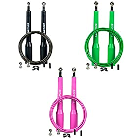 Synergee Speed Jump Rope - (2) Adjustable 10 Ft Cable - Steel Ball Bearings - For CrossFit, MMA, Boxing & Fitness