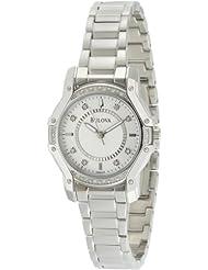 Bulova Womens 96R137 Silver Case Diamond White Dial Watch