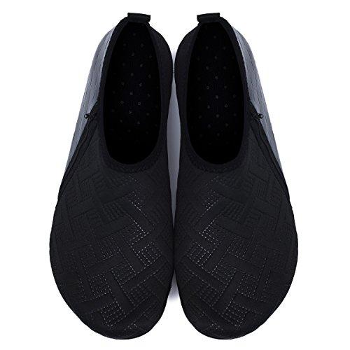 JIASUQI Mens and Womens Summer Barefoot Water Skin Shoes for Surf Pool Zip Black US 5.5-6.5 Women, 5-5.5 Men by JIASUQI (Image #5)