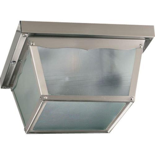 Quorum International Q3080-9 2 Light Flushmount Outdoor Ceiling Fixture with Mis, Satin Nickel (Wall Mis Fixture)