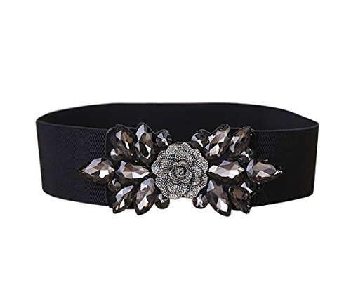 E-Clover Fashion Floral Rhinestone Buckle Women