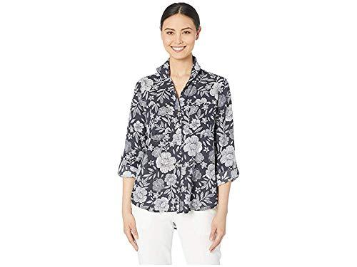 Jones New York Womens Upturned Collar Roll Tab Shirt Graphic Ink MD (Women's 8-10)