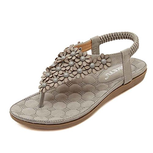 Start Women Summer Bohemia Flower Beaded Flip-flop Sandals Shoes B Type (US=5.5, Gray)