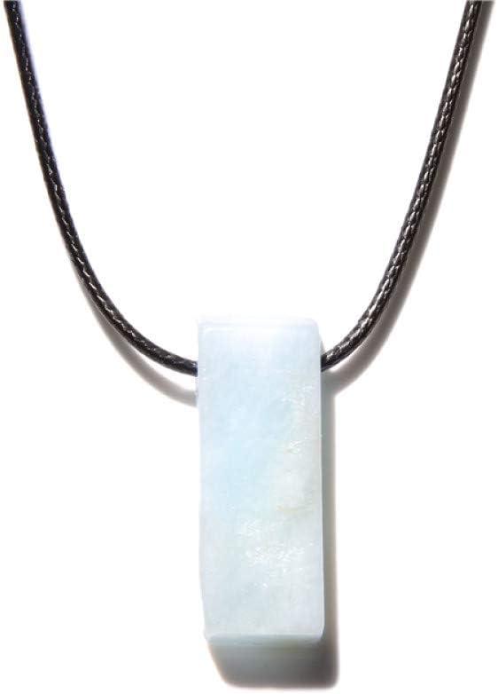TFOOD Collarcolgante Piedra Preciosa,Moda Natural Piedra Rectángulo Irregular Collar Aguamarina Colgante Collar para Mujeres Hombres Joyería