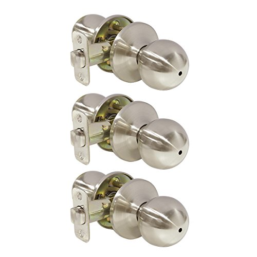 Probrico Stainless Steel Privacy Door Handles Keyless Round Door Knob Lockset for Bed and Bath Brushed Nickel 3 Pack