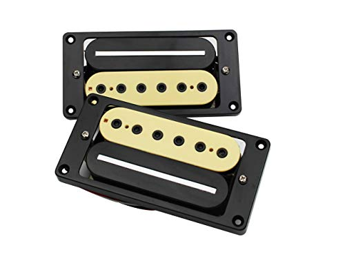 Guyker Guitar Humbucker Zebra Pickups Set - Inner Six Angle Hot Rail Five Line Neck and Bridge Double Pickup Replacement Parts for 6 String Electric Guitar or Precision Instruments (AGHB-5, Yellow) ()