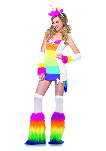 Womens Magical Rainbow Unicorn Dress n Headpiece Outfit Halloween Animal Costume (Cute Female Clown Costumes)