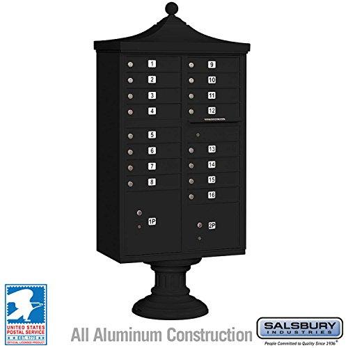 Salsbury Industries 3316R-BLK-U Regency Decorative CBU with CBU, Pedestal, CBU Top and Pedestal Cover, 16 A Size Doors, Type III, USPS Access, Black