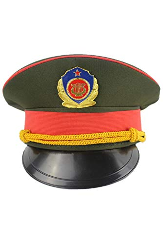 Halloween Band Drum Team Honour Guard Performance Hat Green Military Officer Army Uniform Party Cap]()