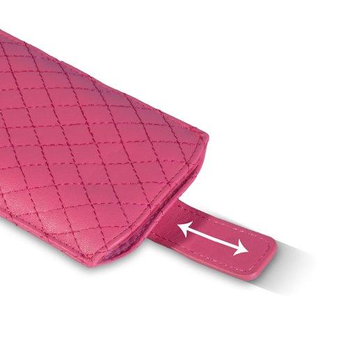 Coque iPhone 5S Etui Rose Chaud Diamant PU Cuir Pochette Housse Avec Tirez Onglet