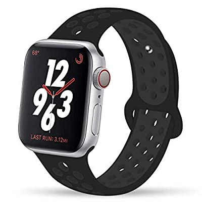 YC YANCH Compatible for Apple Watch Band 38mm 40mm 42mm 44mm,Soft Silicone Sport Band Replacement Wrist Strap Compatible for iWatch Apple Watch Series 4/3 / 2/1,Nike+,Sport,Edition,S/M M/L Size