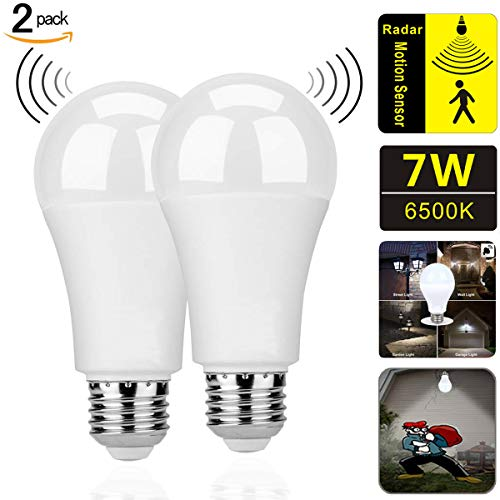 Motion Sensor Light Bulbs,7W (60-Watt Equivalent) E26 Motion Activated Dusk to Dawn Security Light Bulb Outdoor/Indoor for Front Door Porch Garage Basement Hallway Closet(Cold White 2 - Light Socket Sensor