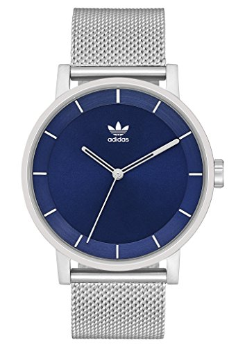 adidas Watches District_M1. Milanese Stainless Steel Bracelet, 20mm Width (Silver/Navy Sunray. 40 mm).