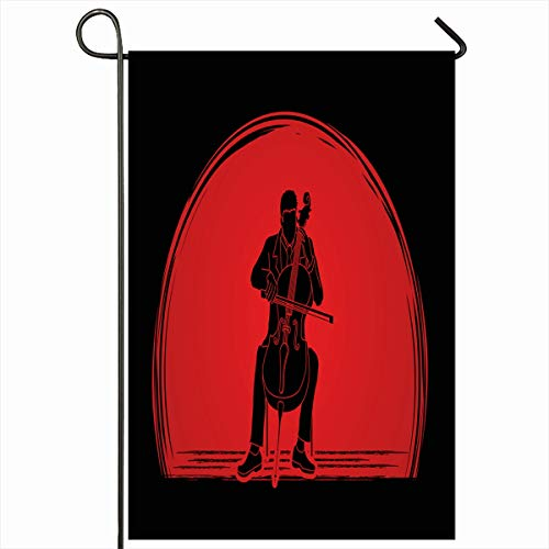 "Ahawoso Outdoor Garden Flags 12""x18"" Inch Graphic Artist Cello Player Designed On Harmony Sunset Cellist Classic Classical Concert Dressed Vertical Double Sided Home Decorative House Yard Sign"
