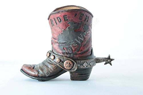 Mini Western Cowboy Cowgirl Rustic Bronco Rider Star Concho Boot Vase Toothpick Pen Holder Rustic Leather Look (Cowgirl Concho)
