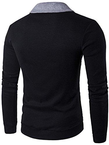 Casual Contraste Zip Button Slim black Up Cardigan Whatlees B428 Down HdO1HR