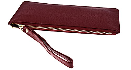 Red with Black for Card Slots Leather FDTCYDS Women Wine Clutch Phone Wallets Purses XAwp7aq