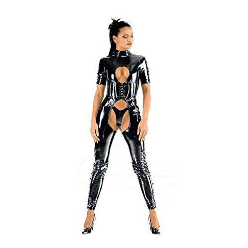 Muka Black Catsuit Halloween Costumes Dominatrix Bodysuit Dress Corset & Thong-S - Dominatrix Costumes