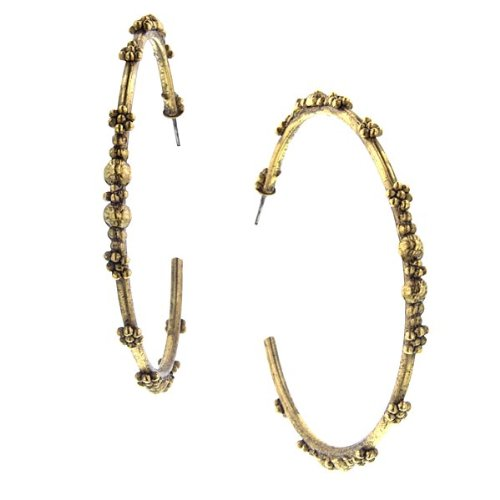 (T.R.U. Large Matte Gold-Tone Dotted Floral Hoops)