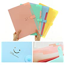 Expanding Files Box Accordion Folder, 5 Pack 5 Pockets Plastic Accordian File Organizer A4 Letter Size Snap Closure Paper Organize Bag , Multicolored( 5 colors randomly selected)