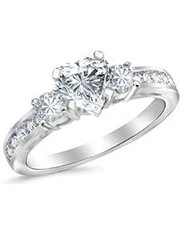 a8b52c301 1.1 Carat GIA Certified Heart Cut 14K White Gold Channel Set 3 Three Stone Diamond  Engagement