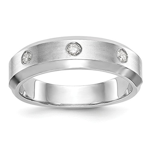 JewelrySuperMart Collection 1/6 CT 14k White Gold AA Diamond Men's Band. 0.15 ctw.