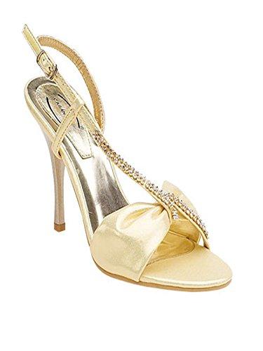 XINJING-S Gold der Frauen Diamante Hochzeit Braut Prom Sandalen Schuhe Damen Uk Größe 3-8, Uk 4.
