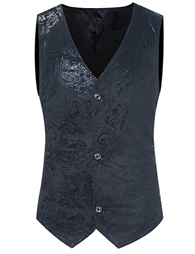 ZEROYAA Mens Hipster Paisley Floral Single Breasted Suit Vest/Tuxedo Waistcoat Z49 Black (Black On Black Suits)