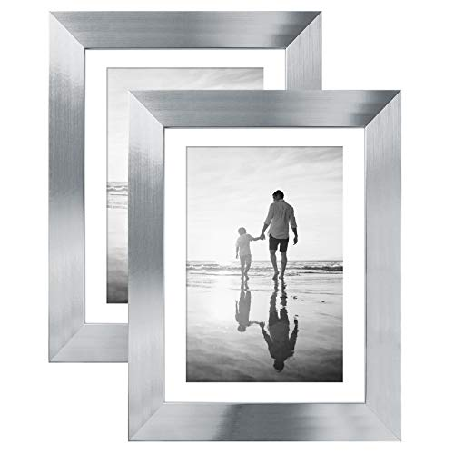 Americanflat 2 Pack - Silver Tabletop Frames - Display Pictures 4x6 with Mats and 5x7 Without Mats - Glass Fronts - Easel Stands