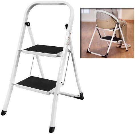 Escalera resistente plegable portátil de acero de 2 pasos, taburete plegable compacto de la escalera de paso del metal: Amazon.es: Hogar