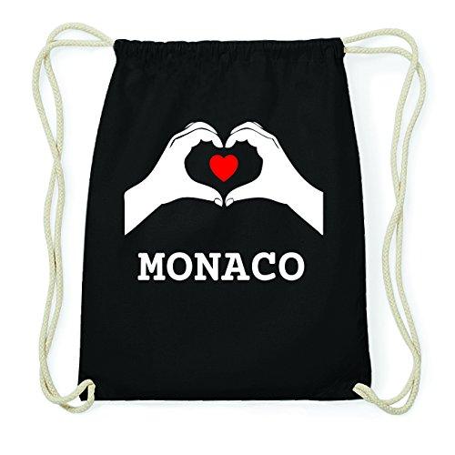 JOllify MONACO Hipster Turnbeutel Tasche Rucksack aus Baumwolle - Farbe: schwarz Design: Hände Herz