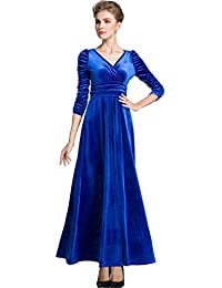Womens Christmas Long Sleeve V Neck Velvet Maxi Dress