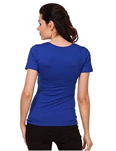 Superiori Shirt Gravidanza Bluse Partorire Tinta Premaman Maglietta Camicie Manica Top Allattamento Semplice Blue Unita Strati T FONLONLON Doppi Donna Corta OS5wAwq