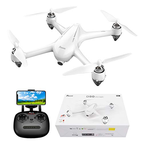 GPS FPV RC Drone, Potensic D80 with 1080P Camera Live Video and GPS Return Home, Strong Brushless Motors, 25 mph High Speed 5.0GHz Wi-Fi Gyro Quadcopter, White(No Silver Aluminum Case)