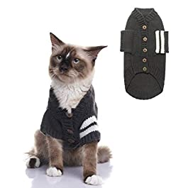 EXPAWLORER Cat Sweater for Cold Weather – Grey Knitted Outerwear Soft Pet Clothes Winter Outfit for Cat and Small Dog