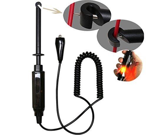 Auto Car Wire Piercing Probe Tester, 6V/12V/24V Auto Car Hook Probe Test Light Pencil Tester DC Hook Probe Test Light Pencil with Light Indicator