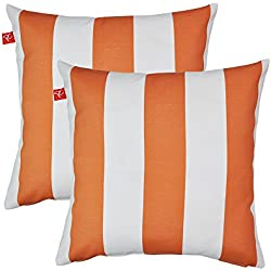 "PacifiCasual Patio Indoor/Outdoor Stripe Orange and White Throw Pillow Cushion Cover Decorative Replacement Cushion Case Square 18"" x 18"", Set of 2"